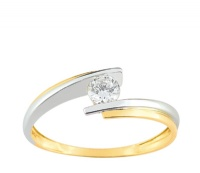 Bague Or Solitaire Oxyde Bicolore