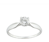 Bague Or blanc 9 carats Solitaire Oxyde
