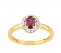 Bague Or 9 carats Rubis et Diamants